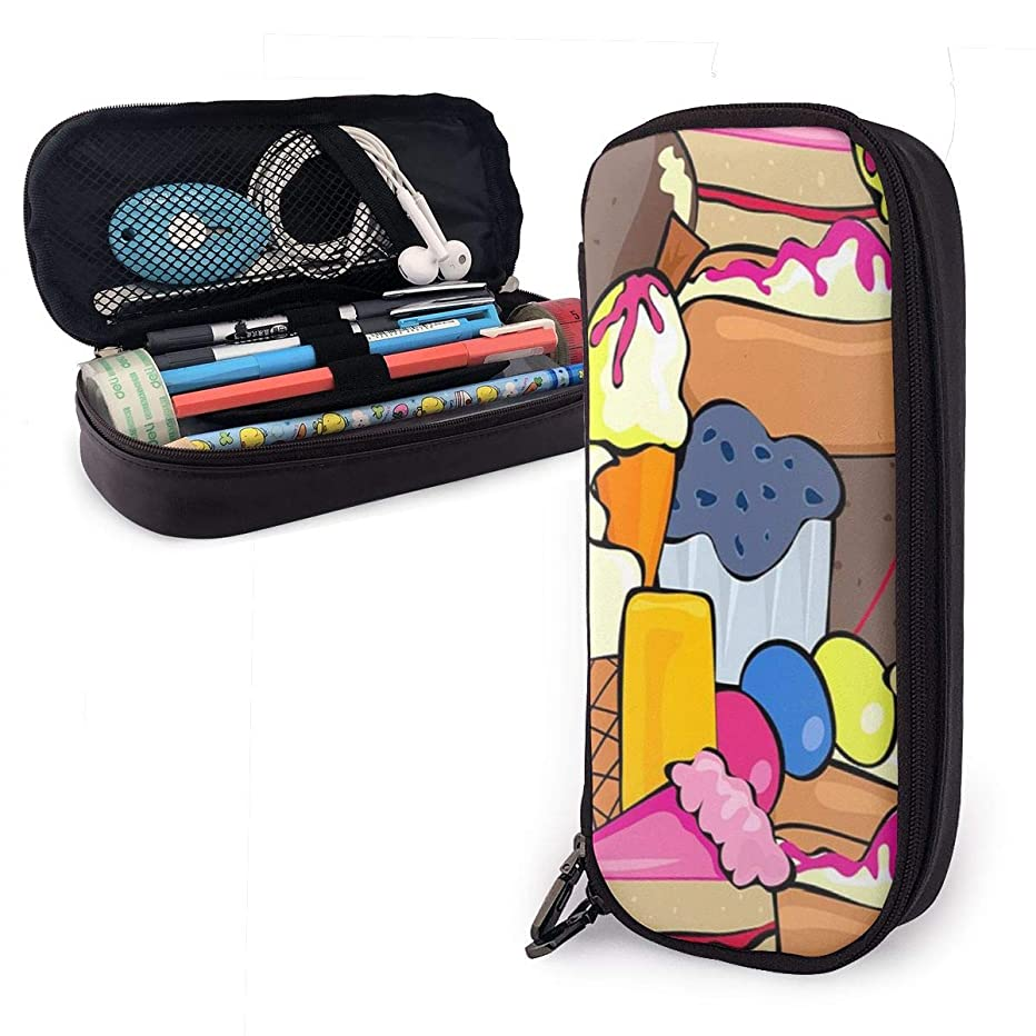 YGAMES Snack Donut Pencil Pouch Large Capacity Pen Case Leather Bag Marker Compartment Box School Supplies for Boys Girls Students Black