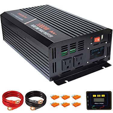 aeliussine 1000 watt Pure Sine Wave Inverter 12v dc to ac 120v with LCD Displaywith Remote Switch Power Inverter for Car Off Grid Solar Power System (1000w12v LCD)