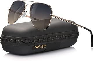 LUENX Aviator Sunglasses Polarized Mens Womens Gradient Brown Lens Metal Rose Gold Frame 60mm