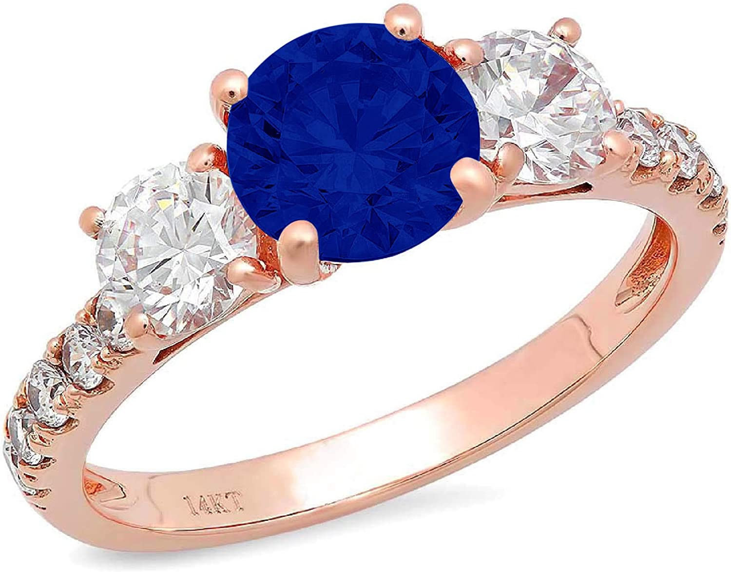 1.94ct Brilliant Round Cut Solitaire 3 stone With Accent Flawless Ideal Genuine Cubic Zirconia Blue Sapphire Engagement Promise Statement Anniversary Bridal Wedding Designer Ring 14k Rose Gold