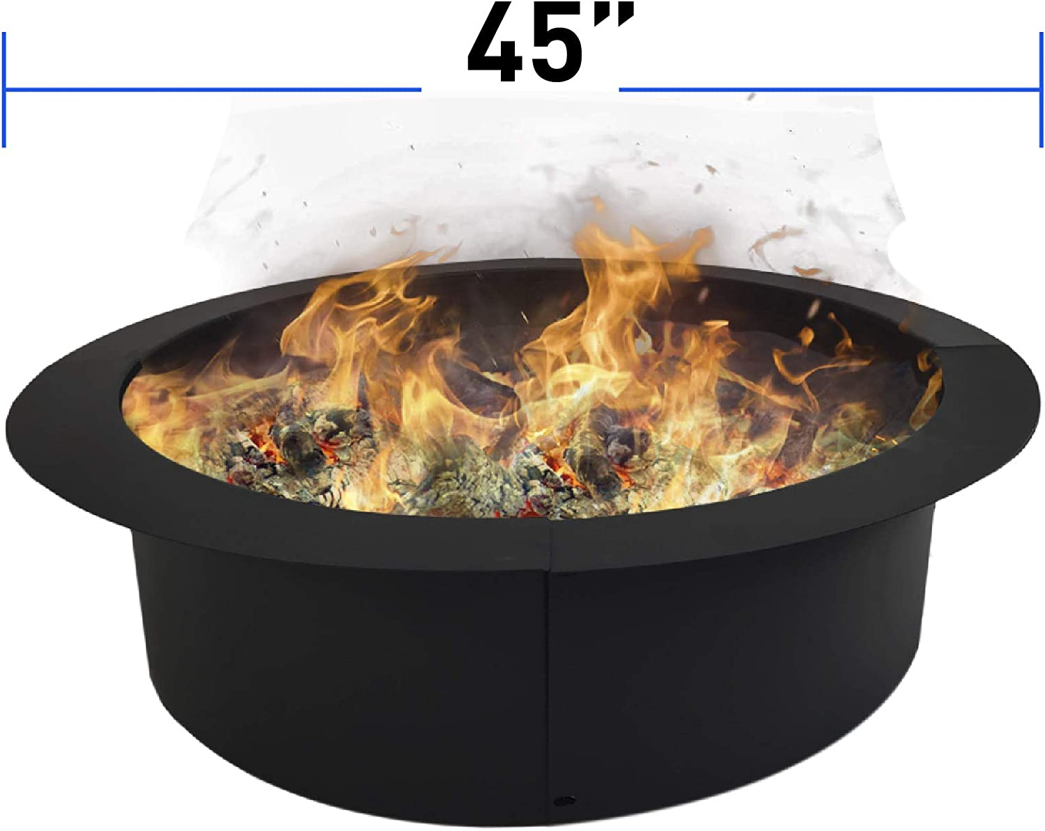 EasyGoProducts EGP-GARD-026 EasyGo Ring – Solid Steel DIY Fire Pit Liner – Heavy Duty – Black color – Above Ground or in Ground-45 Inch Outsi, 45