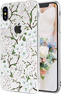 iPhone X Case iPhone Xs Case for Women Girls White Cherry Blossom Watercolor Clear Soft TPU Slim Flexible Shockproof [5.5