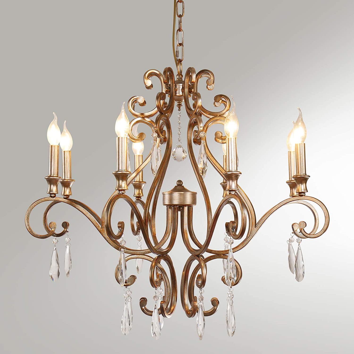 8-Light Max 47% OFF Rustic Selling Crystal Raindrop Candle Style Chandelier Vintage