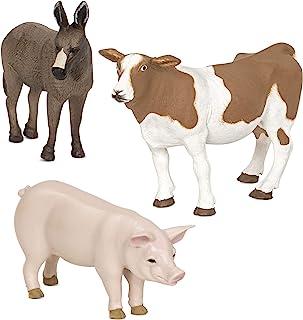 Terra by Battat – Farm Animals (Donkey, Cow, Pig) - Farm Animal Toys with Donkey Toy For Kids 3+ Pc), Multi