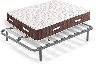 HOGAR24 XP25- Colchón viscoelástico + Somier Edra con Patas, Medida 90x180 cm, Máxima Calidad En Descanso, Confort Y Firmeza Alta, Grosor 30 cm.