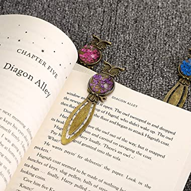 OwnMy 6 Pcs of Metal Bookmark Ruler, Bronze Book Mark with Vintage Dried Flower, Bookmark for Student, Kids, Teacher, Book Cl