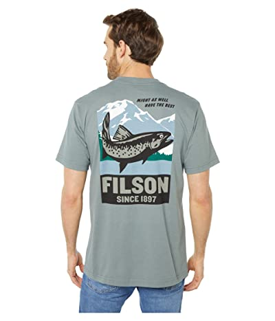 Filson Short Sleeve Outfitter Graphic T-Shirt (Sage Gray Salmon Lake) Men