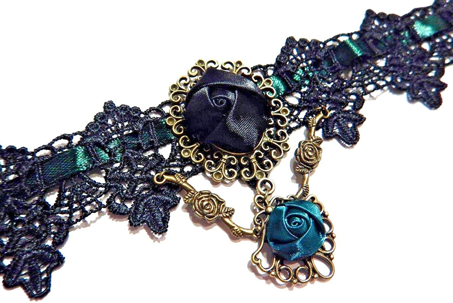 Green & Black Lace Rose Choker Necklace Teal Gothic Victorian Steampunk Collar