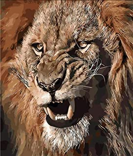 Hwhz Frameless Lion Animal King Painting by Numbers Canvas Painting Print On Canvas Unique Gift Home Decor Wall Artwork Hand Work A