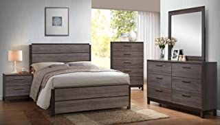 Kings Brand - 6-Piece Antique Grey Wood Queen Size Bedroom Set. Bed, Dresser, Mirror, Chest & 2 Night Stands