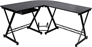 SONGMICS Bureau Informatique Table Informatique Travail Ordinateur Meuble de Bureau pour Noir, 150 x 138 x 75 cm, LCD402B
