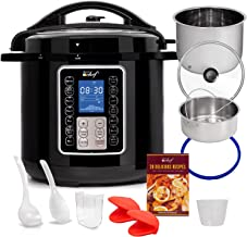 Deco Chef 8 QT 10-in-1 Pressure Cooker Instant Rice, Sauté, Slow Cook, Yogurt, Meats, Deserts, Soups, Stews Includes Recipe Book, Tempered Glass Lid, Mitts, Grill Rack, and Steaming Basket