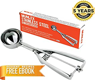 Munlex 18/8 Stainless Steel Professional Cookie Scoop for baking, Cupcake Muffin Batter Dispenser, Cookie Dough Scooper, Medium Size, Silver Color, 5-YEAR Warranty