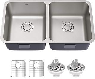 Kraus KA1UD33B Dex 33-inch Undermount 16 Gauge Antibacterial Stainless Steel Double Bowl Kitchen Sink
