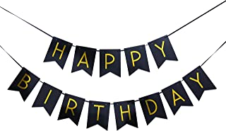 Happy Birthday Banner for Black Card Paper - Birthday Party Banner in Black YEL and Gold, Sign Garland Birthday Party Photo Props,Event Decorations for Kids and Adults |Reusable (Happy Birthday banne