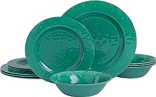 Gibson Home Mauna Round Heavyweight Melamine Dinnerware Set, Service for 4 (12pcs), Green