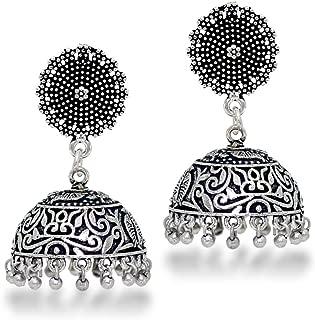 Indian Traditional Look Oxidised German Plated Handmade Jhumka Jhumki Earrings Gift For Women