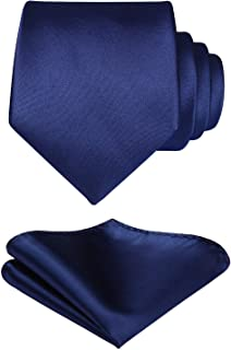 Mens Solid Color Ties Formal Satin Necktie and Pocket Square Set Wedding, by HISDERN