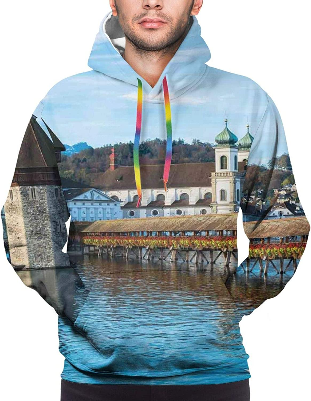 TENJONE Men's Hoodies Sweatshirts,Panoramic View of Oak Chapel Bridge Northern Lands Lake European Aged City Print