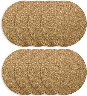 COM-FOUR® soucoupe 8x en liège rond, Ø 19 x 1 cm, soucoupe ronde pour casseroles, poêles, cuisine et maison, résistante à ...
