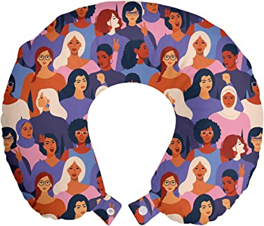 Ambesonne Feminist Travel Pillow Neck Rest, Female of Diverse Ethnics or Backgrounds Assembled Together Empowerment, Memory F