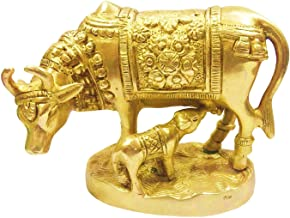 Brass Statue Kamdhenu Cow with Calf - Nandi Idol - Kamadhenu Golden Color Cow and Calf Set - Brass Idol - for Good Luck, P...