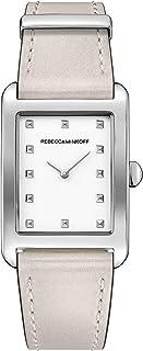 Rebecca Minkoff Women's Stainless Steel Quartz Watch with Leather Calfskin Strap, Grey, 20 (Model: 2200068)