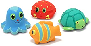 Melissa & Doug Sunny Patch Seaside Sidekicks Squirters With 4 Squeeze-and-Squirt Animals - Water Toys for Kids