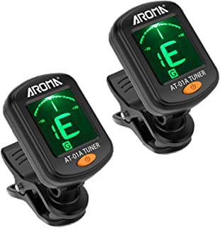 Meeland Guitar tuner 2 PACK، Clip On Tuner for Guitar / Bass / Violin / ukulele، Auto Power Off / One Button Operation / AT-01A / 2 Set