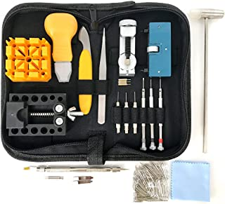 HAOBAIMEI 213 PCS Watch Repair Kit,Watch Battery Replacement Tool Kit with Carrying Case and Instruction Manual,Watch Pres...