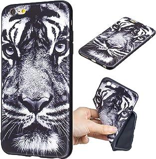 7b350120819 Rongecr Funda Negro Compatible con iPhone 6/ 6s Plus Carcasa Gel TPU  Silicona Case Cover