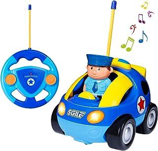 SGILE Coche Teledirigido con Música y Luces, Radio Control Remoto Coches RC, Tren de Teledirigido Niños, Coches de Policía...