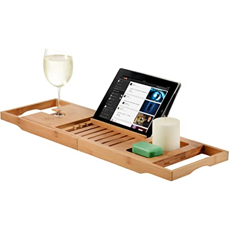 Premium Bamboo Bathtub Tray Caddy - Expandable Wood Bath Tray with Book/Tablat Holder, Wine Glass Slot- Gift Idea for Loved Ones
