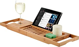 Bamboo Bathtub Caddy Tray with Extending Sides Reading Rack Tablet Holder Cellphone Tray and Wine Glass Holder - Luxury En...