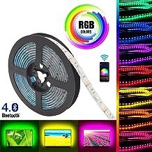 Gluckluz LED Light Strip Smart Bluetooth Lighting 2m USB Smartphone APP Control RGB 5050 Color Changing Waterproof TV Backlight Strip for Bedroom Indoor Decoration (NO Remote Control)