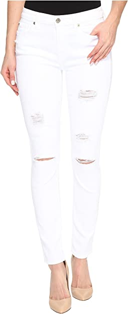 7 For All Mankind Ankle Skinny w/ Destroy in White Fashion