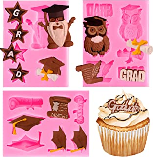 Whaline 3 Pack Graduation Silicone Molds Graduation Owl Gnome Grad Cap Diploma Scroll Chocolate Candy Mould Congrats Grad ...