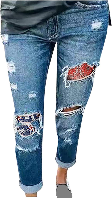 Euone_Clothes Jeans Pant for Women, Womens Hole Button Zipper Pocket Jeans Casual Denim Flares Wide Leg Slim Pants