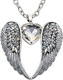 Women's Guardian Angel Wings Heart Pendant Necklace Biker Jewelry 18