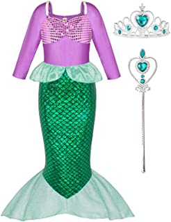 Little Girls Mermaid Princess Costume for Girls Dress Up Party with Gloves,Crown Mace 3-10 Years