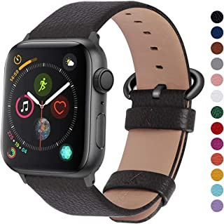 Fullmosa Compatible Apple Watch Band 38mm 40mm 42mm 44mm Leather Compatible iWatch Band/Strap Compatible Apple Watch Series 5 4 3 2 1, 38mm 40mm Space Grey + Gunmetal Buckle