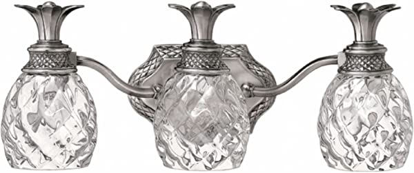 Hinkley 5313PL Plantation Collection Bath Light Polished Antiqued Nickel Finish Clear Optic Glass