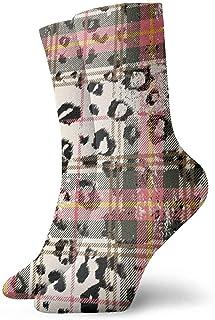iuitt7rtree Tartán escocés con calcetines de piel de leopardo en los tobillos Casual Divertido para botas deportivas Sende...