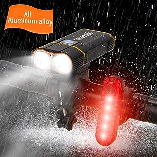 Best Mountain Bike Lights for Night Riding,1000 Lumens Bike Headlight 2 LED?Upgrade Mount?,USB Rechargeable Bicycle Headlight & Rear Light Set for Road Commuting,Front & Back Bike Light Flashing Light