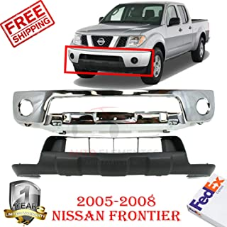 New Front Bumper Chrome Steel Kit For 2005-2008 Nissan Frontier Lower Valance with Fog Light Holes & Off Road Pkg Black Direct Replacement Primed Plastic Set of 2 NI1015100 NI1002138