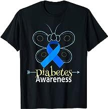 Butterfly Blue Ribbon Diabetes Awareness Shirt Women Men