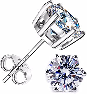 14K white Gold Plated Sterling Silver Round Cut Cubic Zirconia Stud Earrings Hypoallergenic set with Delicate Jewelry Box,...