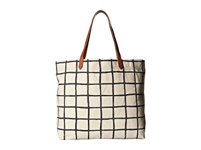 Madewell Heavy Canvas Transport Tote (True Black Windowpane) Handbags