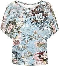 INTERESTPRINT Women T-Shirts Batwing Loose Fit Blouse Top Shirts