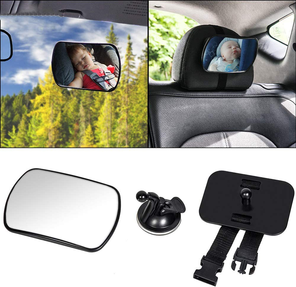 Baby Car Mirror - Bessie Sparks Car Back Seat Mirror for Rear Facing Infants and Babies Safety Shatterproof Acrylic Material 360 Degree Rectangle Rectangle 170x110MM